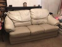 Sofa - leather - stone coloured - cheap -