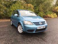 2007 VOLKSWAGEN GOLF PLUS LUNA 80 1.4 GREAT CAR MUST SEE MOT ONE YEAR 79,000 MILES £3250 OLDMELDRUM