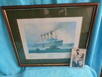 RMS Rare Titanic Framed Print Signed by Survivor Bertram Vere Dean & Artist Laurence Bagley no 194