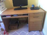 Modern, solid wood desk.