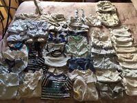 Large bundle of boys newborn and 0-3 clothing