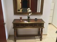 Console Table & Mirror (Solid Sheesham Wood)