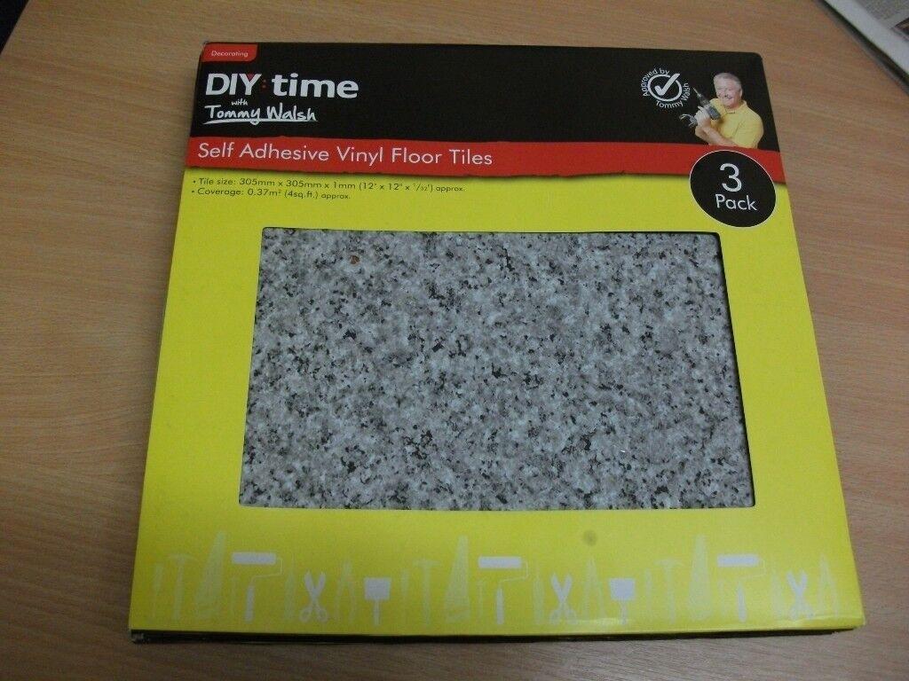 Diy Time Tommy Walsh Self Adhesive Grey Vinyl Floor Tiles