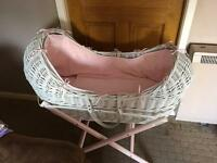 Noah pod wicker Moses basket pink and white baby girl