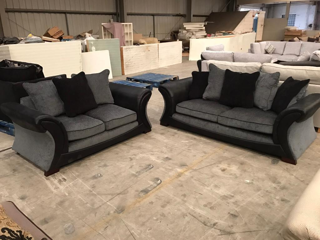 Black leather and grey fabric 3 + 2 sofa suite