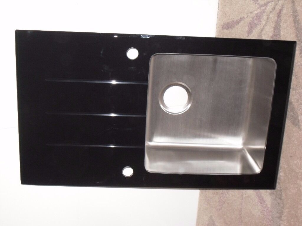 Cooke Lewis Lamarck Black Glass Drainer Stainless Steel Bowl Kitchen Sink New But No Fittings