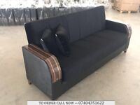 3 SEATER TURKISH FABRIC SOFA BED WITH STORAGE UNDERNEATH, WOODEN ARM LEATHERETTEE SOFA-BED SETTEE