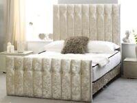 Brand New Kingsize Cream Velvet Bed Frame