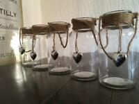 5 x Glass Jar Candle Holders (wedding/party/garden/home)