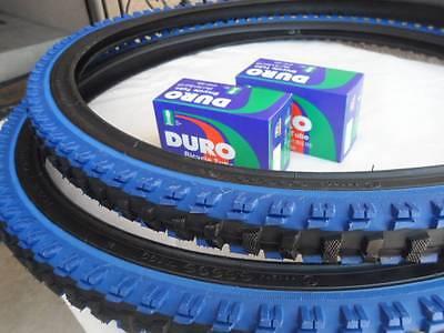 26x1.95 Black Blue Bicycle Knobby Tires + Tubes Mountain Bik