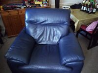 Blue leather armchair for sale