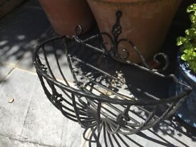 Traditional, large, wrought iron hanging baskets - set of two