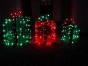 Three Lighted Gift BOXES Christmas Holiday Indoor / Outdoor 150 Lights presents