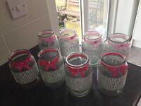 8 jars decoratored for wedding