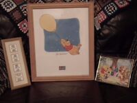 Bundle of 3 nursery pics - Winnie The Pooh & Tatty Teddy... wooden frames
