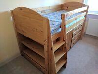 Mid Sleeper Bed c/w Drawers, Cupboard & Book Shelves
