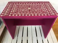 Child's dressing table or desk in hot pink with Indian inlay design