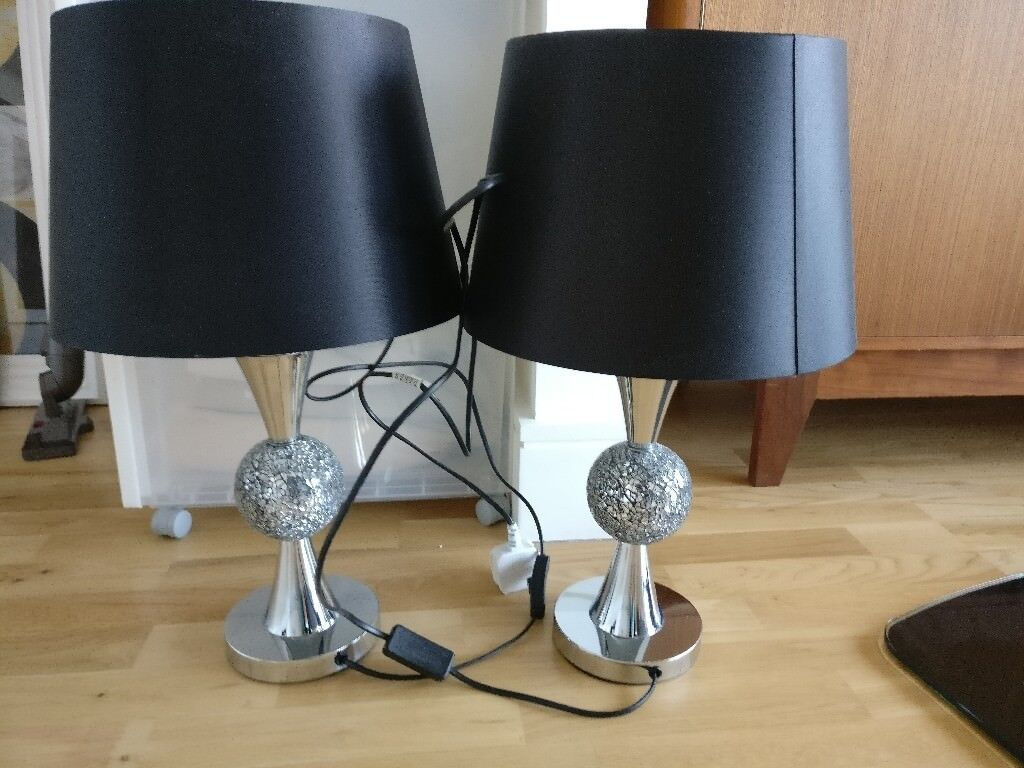 2 x black table lamps with statement stand in london gumtree