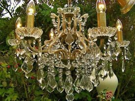 **GORGEOUS**ANTQ/VINT STYLE FRENCH 6 LIGHT CHANDELIER DROWNING IN CRYSTAL