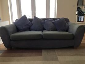 2 Sofas, a three seat and a two seat, with fire certificate labels. Frames in good condition.
