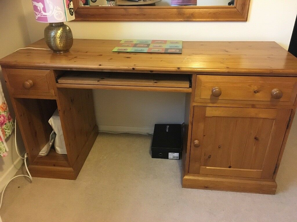 Pine Desk With Cupboard And Slide Out Keyboard Tray