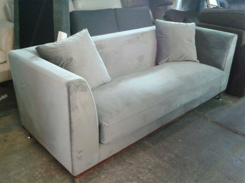 Ex display rrp £599 3 seater velvet grey sofa only £199