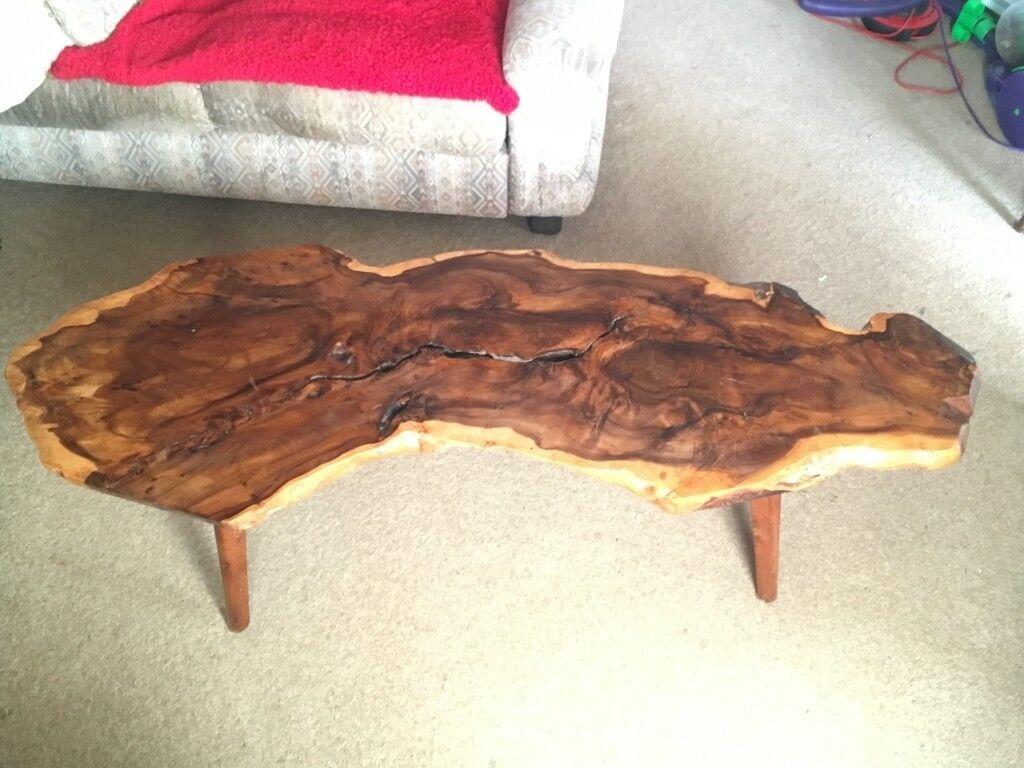 Solid Wood Side Coffee Table One Piece Polished Hardwood Log