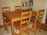 Ikea Jokkmokk table and four chairs for sale.