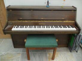 PIANO, upright Bentley, regularly tuned. Ilfracombe. Buyer collect.
