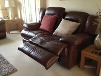 2X REAL LEATHER 2 SEAT RECLINERS & POUFFE