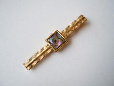 Vergoldete Krawattenklammer mit Seeopal / Abalone Einlage 6,9 g/5,4 x 1,1 cm