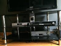 Black glass TV Stand with 3 shelves for 40 inch TV