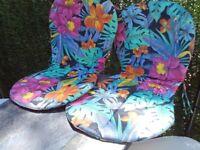 2 x colourful garden chair cushion pads
