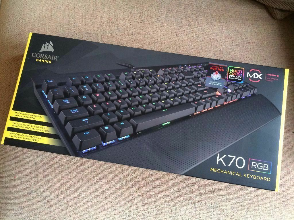 Corsair K70 Rgb Cherry Mx Red Performance Multicolour Led Keyboard Gaming Switch Used Backlit Mechanical