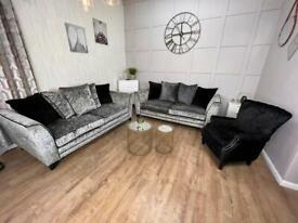 Scs Silver Crushed Velvet Sofa Suite * Delivery *