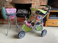Child's toy double pushchair and high chair good condition
