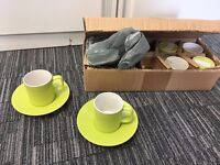 New Bright Green Espresso Cups & Saucers (24)