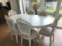 Classic Shabby Chic French Style Dining table and six matching chairs
