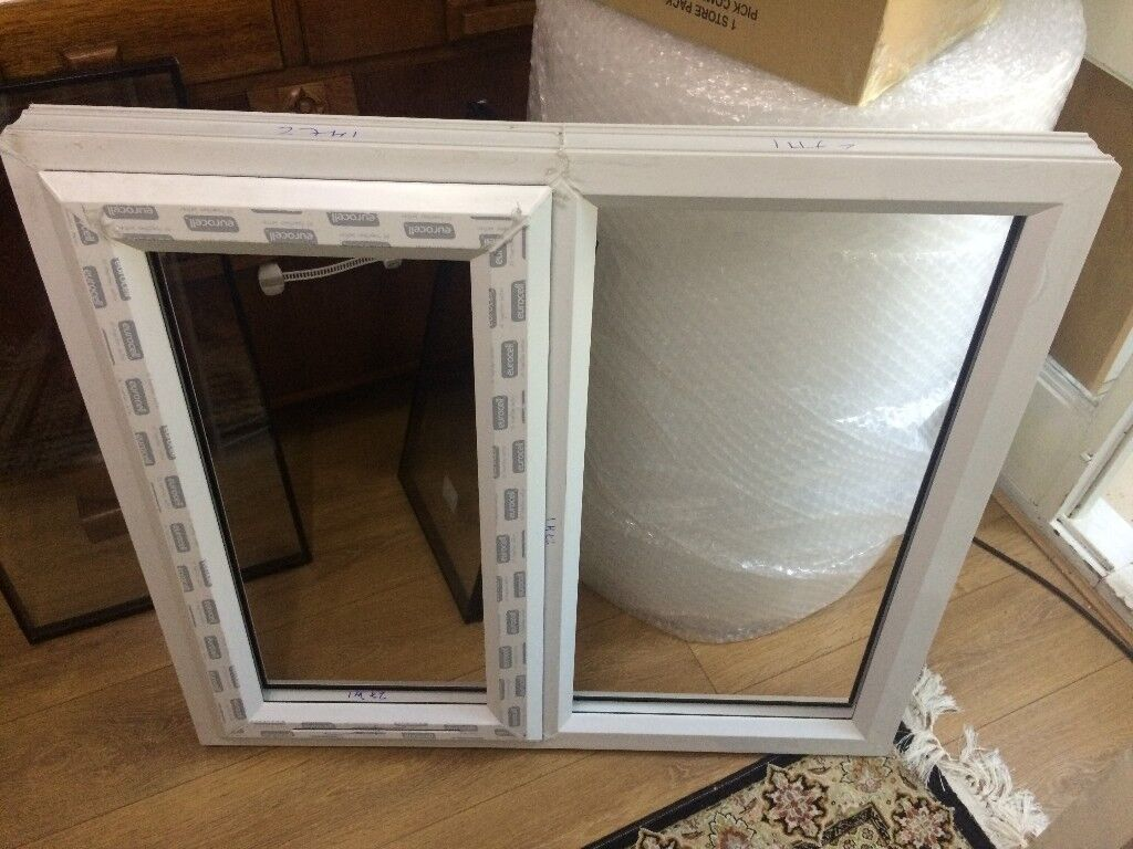 WINDOW UPVC Double Glazed WHITE Frame+Glass & Handle 990mmX990-Made ...