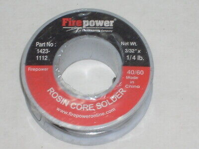 Victor Firepower 1423-1112 Rosin Flux Core Solder 332 Dia 4060 Tin Lead 4 Oz
