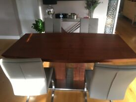 Modern Dining Table and 4 leather Chairs
