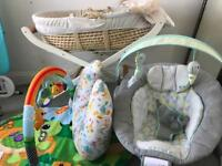 Moses Basket, Stand, Baby Bouncer, Baby Play Mat and Feeding Pillow
