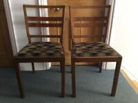 Art Deco dining chairs, pair, wooden frame, original fabric seat
