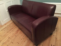 Italian oxblood leather Art deco style armchairs (2) and one three seater sofa
