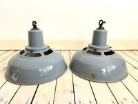 Vintage retro industrial huge Benjamin Crysteel enamel metal grey factory lights lamp shades