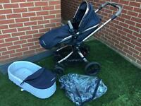 Rose Gold Mothercare Orb Liquorice Black Travel System with tan/brown handles