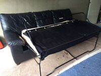 Nice 3 Seater Real Leather Sofa Bed Double Bed- CAN DELIVER