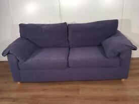 Blue fabric 2 seater sofa with free delivery within 10 miles