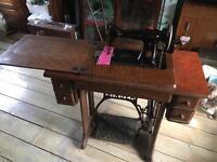 Vintage Singer 15k heavy duty treadle sewing machine in 5 drawer cabinet - working order