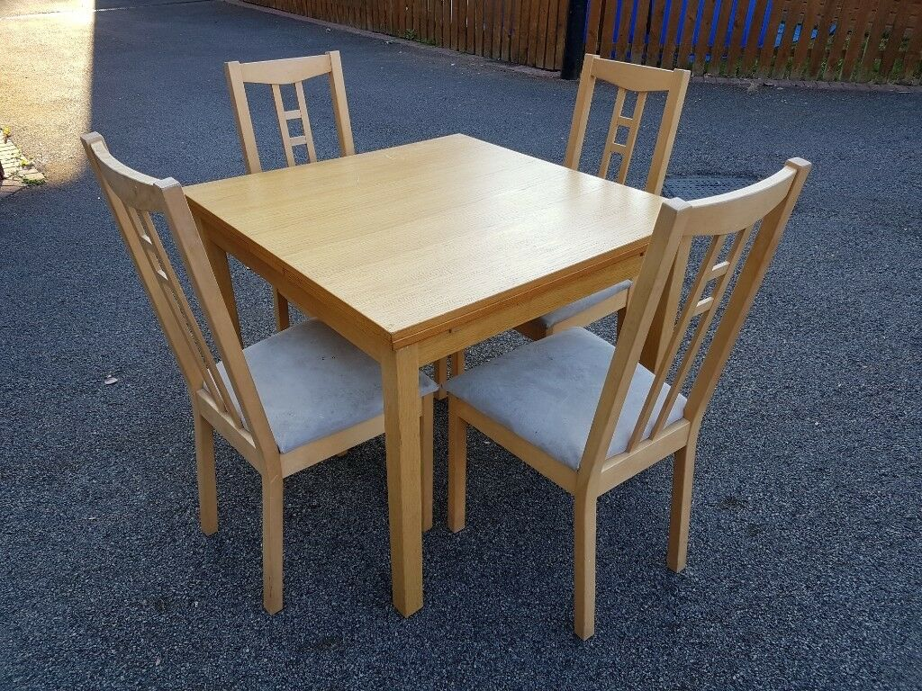 Ikea Square Extending Oak Bjursta Table 4 Aron Chairs Free